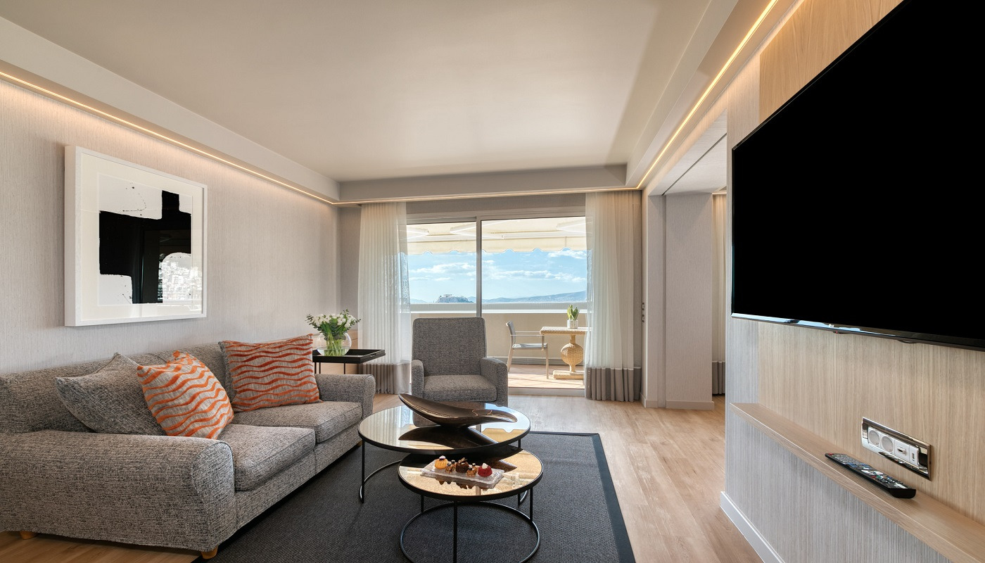 Divani Caravel Hotel - Divine Family Acropolis View Suite - Living Room